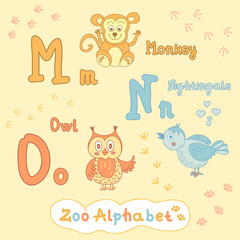 Colorful children is alphabet with animals