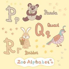 Colorful children's alphabet with animals, panda, quail, rabbit