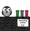 Monochrome comical recycling facility sign