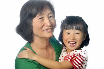 little asian girl with her grandmother