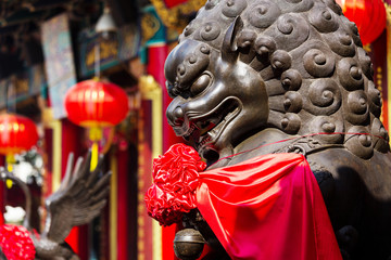 Imperial Lion in Chinese temple