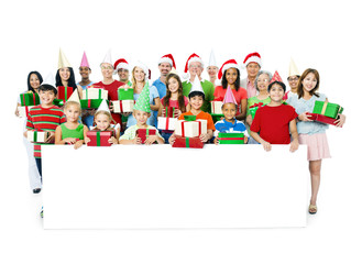 Group of People Wearing Christmas Clothes