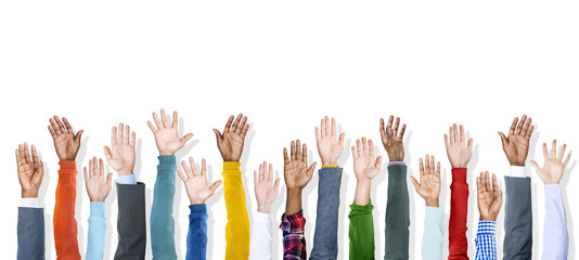 Group of Diverse Colorful Hands Raised