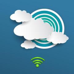 Paper cloud computing with Wi-Fi on blue background