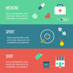 Medicine, sport and shopping banners, with shop, and gym