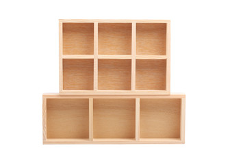 wood shelves isolated on white background