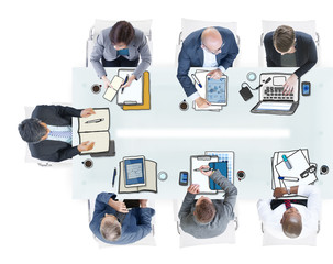 Multi Group of Business People Meeting in Photo and Illustration