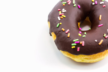Chocolate donut with Sprinkles.