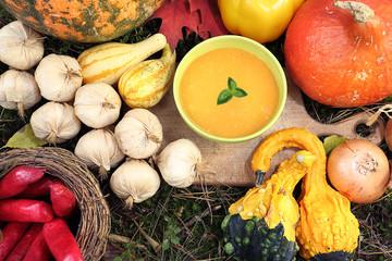 Autumn on the home table - delicious pumpkin cream soup