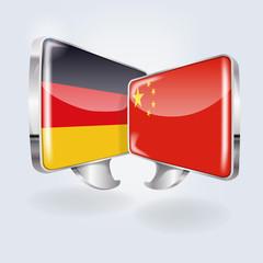 Sprechblasen mit Deutschland und China