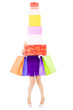 woman holding shopping bags and gift boxes over white background