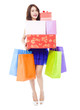pretty woman holding shopping bags and gift boxes