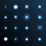 Light Glow Flare Stars Effect Set. - 70499533