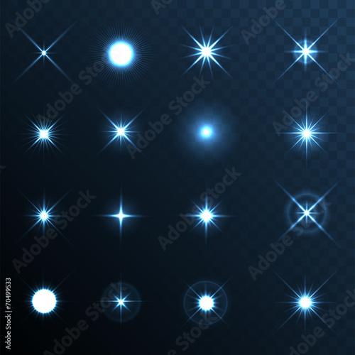 Fototapeta Light Glow Flare Stars Effect Set.