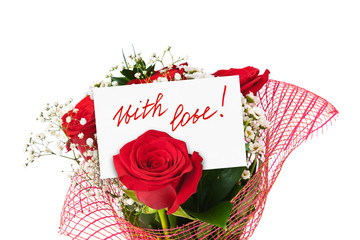 Roses bouquet and greeting card