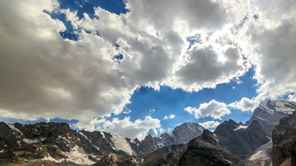 Clouds over a mountain valley. TimeLapse. Pamir, Tajikistan. 4K