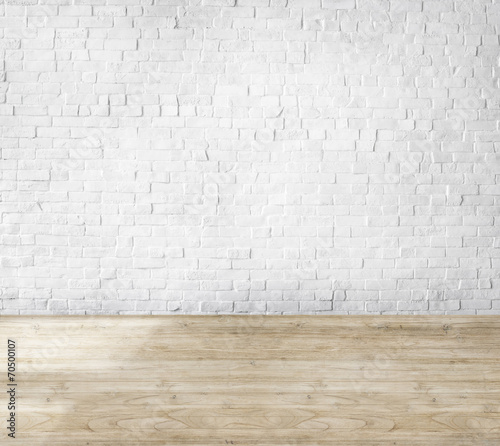 Room Made of Brick Wall and Wooden Floor