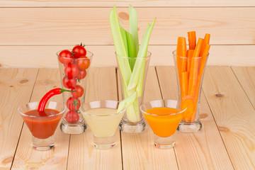 Fresh vegetable juice mix.