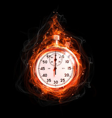 stopwatch fire on a black background