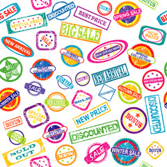 Seamless pattern with stamps with discount and sale messages