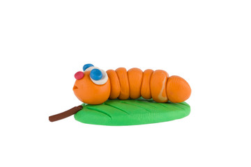 Worm from plasticine