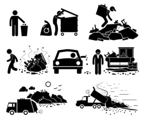 Rubbish Trash Garbage Waste Dump Site Pictogram Icons