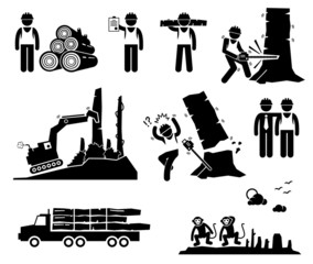 Timber Logging Worker Deforestation Cliparts Icons