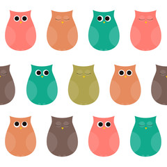 Pretty Owls Seamless Pattern