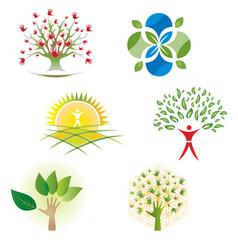 Ensemble d'Icones Arbre Fleurs Feuillage pour Design Logos