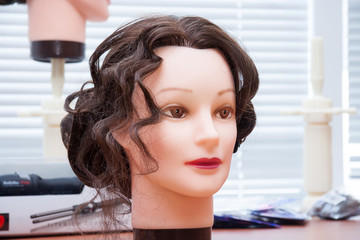 Mannequin's head with hairstyle