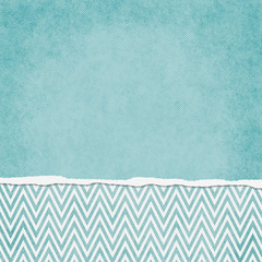 Square Blue and White Zigzag Chevron Torn Grunge Textured Backgr