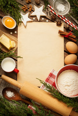Christmas - baking cake background with dough ingredients