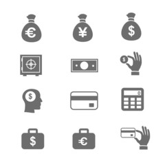 Money and coin icon set   illustration