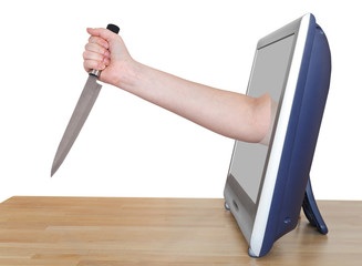female hand with kitchen knife leans out TV screen