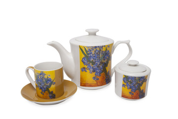 Pottery set  for tea over white background