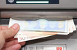 money in EURO banknotes from an ATM