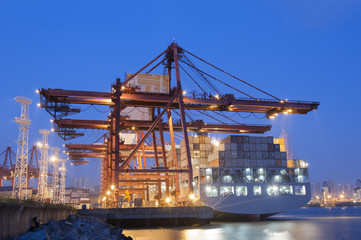 Container Port at dusk