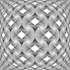 Design monochrome warped grid decorative pattern