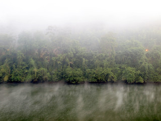 river and fog