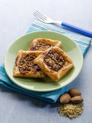 dessert with chocolate cream and almond