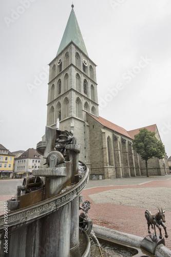 Leinwanddruck Bild Pauluskirche in Hamm, NRW, Deutschland
