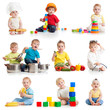 little boys 1-2 years old isolated on white