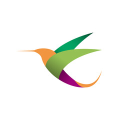 Vector sign logo in flight. Hummingbird