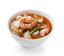 Mixed vegetable soup with shrimp