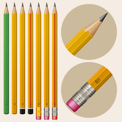 Set of monochrome pencils with erasers, isolated on white