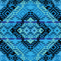 Abstract geometric ornamental pattern in blue