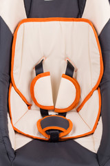 Close up of child car seat.