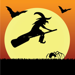 Witch with bat, ghost and spider silhouettes on Halloween