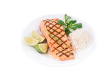 Grilled salmon filler with risotto. poster