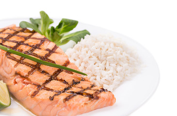 Grilled salmon filler with risotto.